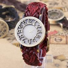 Novo Estilo Roma Digital do vintage escavar Genuíno mão-tecido pulseira de Couro de Vaca relógios mulheres se vestem relógios