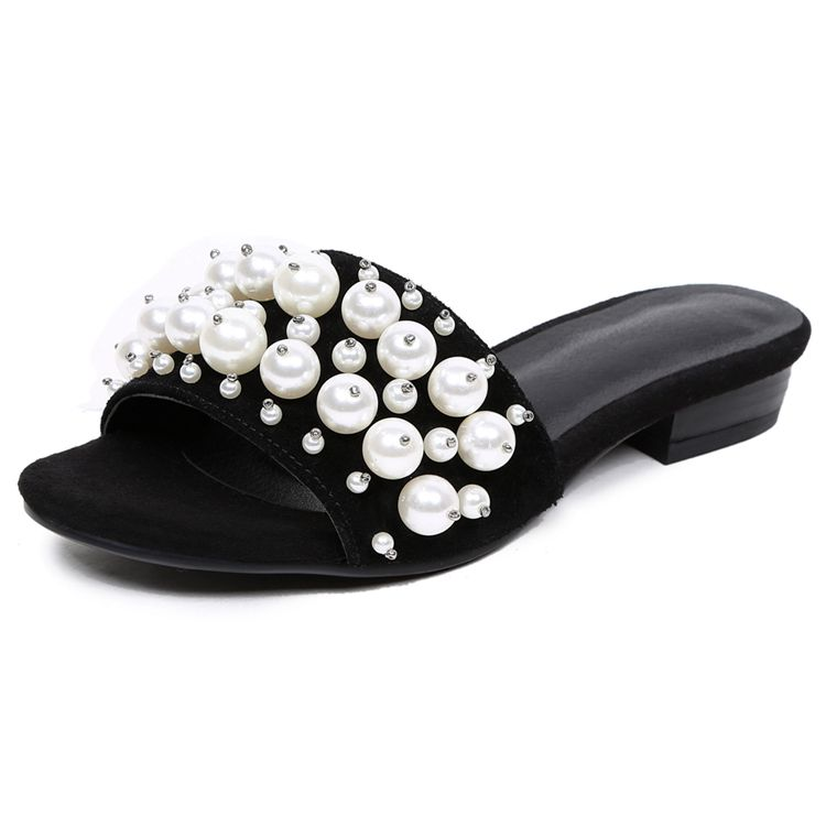 2017 leather slippers women fashion pearl women flat beach sandals