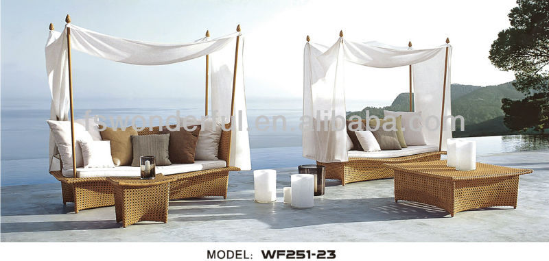 WF251-23 outdoor lounger bed with canopy