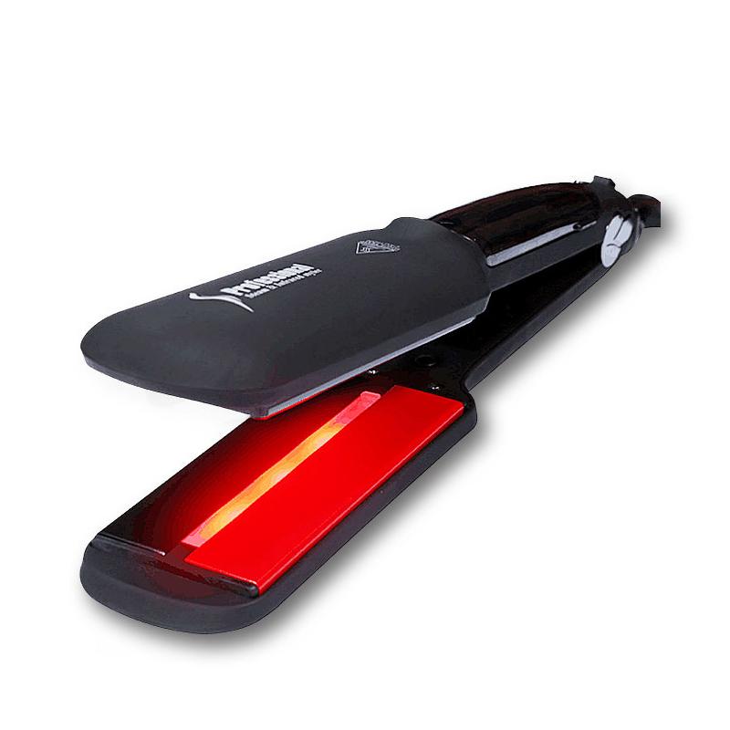 Wide Plate Steam Hair Straightener Professional Steam Ceramic Flat Iron Infrared Hair Straightener, Black red white custom