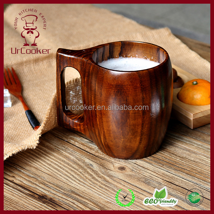 Wholesale Durable 100% wooden beer mug with handle , 550ml