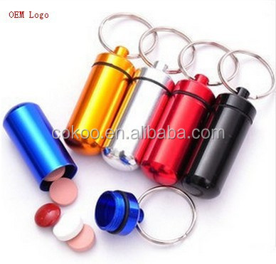 500pcs/lot Travel Waterproof Aluminum Portable Pill Box Case Holder Medical Container With Key Ring Storage Box Hot On Express