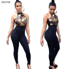 Wholesale club wear women ladies sexy halter jumpsuits for evening