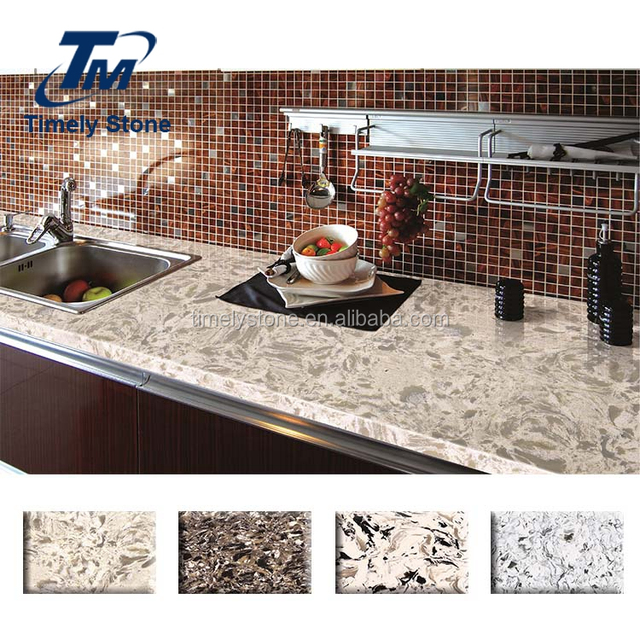 Marble Vein Artificial Engineered Stone Kitchen Countertop Quartz Stone