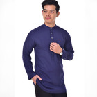 Wholesale custom design plain indian men kurta fashion navy blue cheap kurta