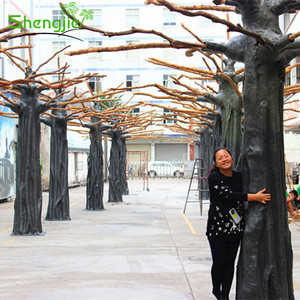Best supplier decorative fiberglass natural banyan artificial tree trunk