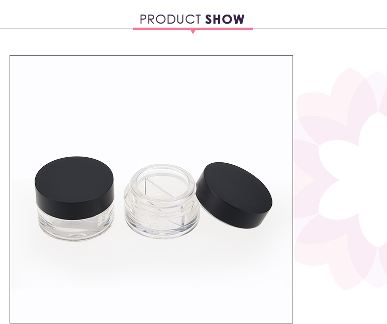 Round cosmetic jar double custom eyeshadow case with free sample