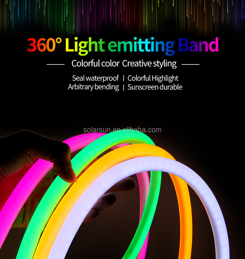 RGB led neon light IP67 220V RGB led neon flex tube/RGB led flexible strip light
