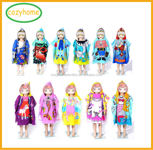Soft Microfiber Material With Cheapest Price Custom Reactive Printed Cotton Adult and Children Beach Hooded Towel