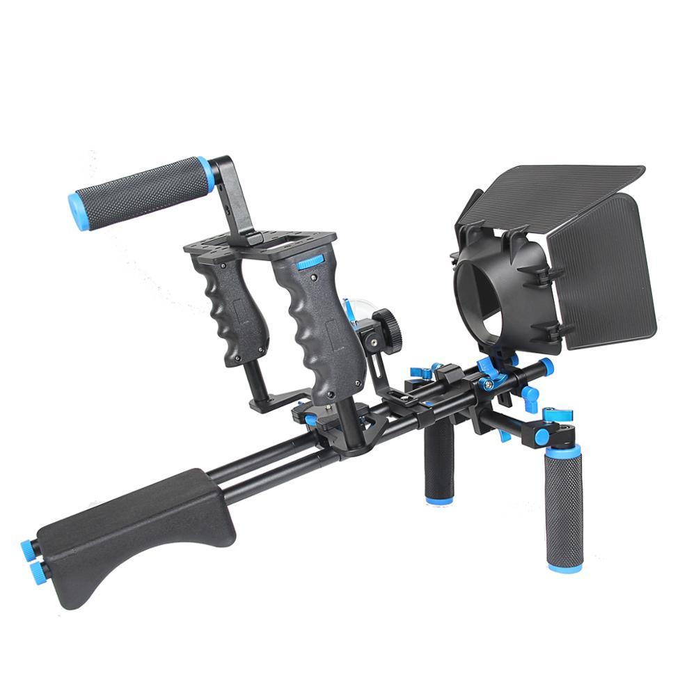 YELANGU D221 DSLR Handheld Camera Cage+ Shoulder Mount Rig Kit + Follow Focus +Matte Box Accessory For All DSLR