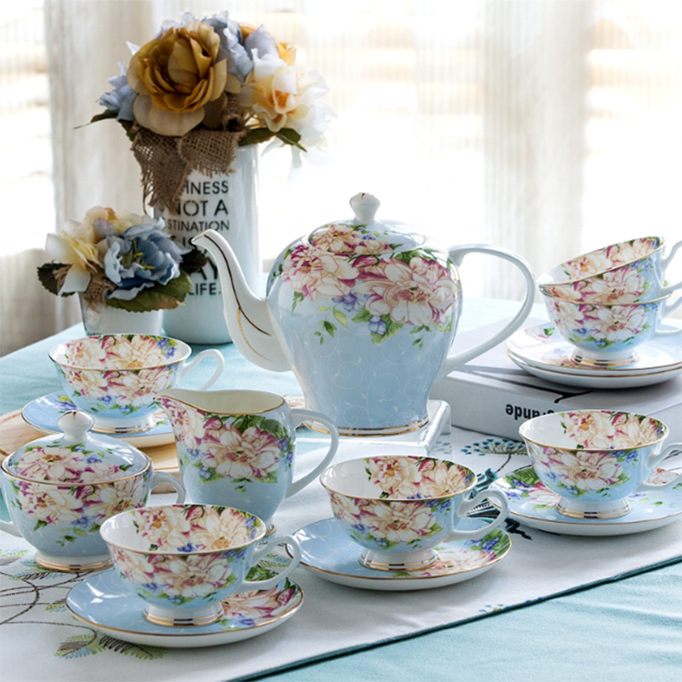 Bone china tea cup and saucer flower pot porcelain tea set of 6 cup and saucer for 6 people 15pcs with milk jug and sugar bowl фото