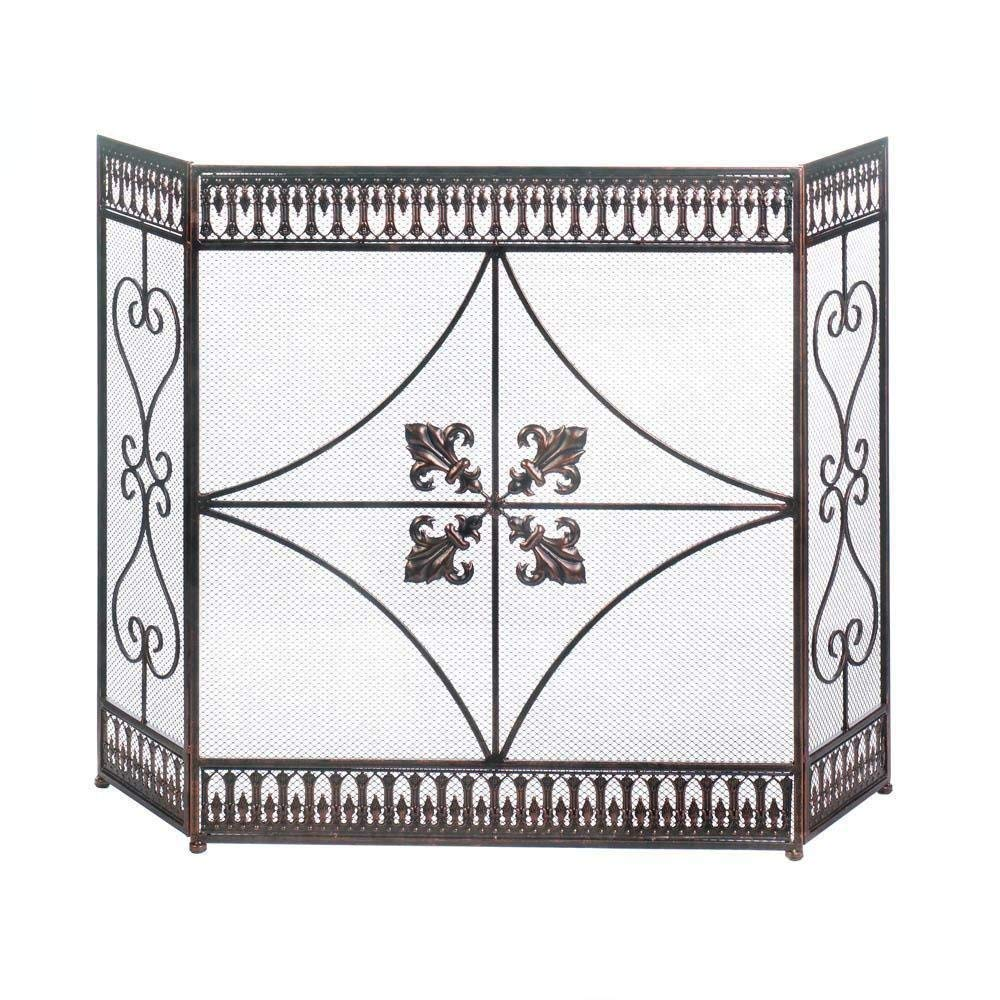 MyEasyShopping Fleur-De-Lis Fireplace Screen, 1-Fleur-De-Lis Fireplace Screen, Fleur De Lis Screen Fireplace Iron French Fire Panel Fold Wrought New Tri Metal Black 3 Mesh With Style Place