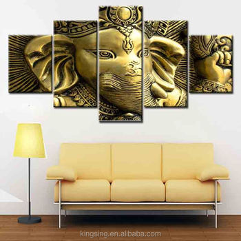 High Quality Cheap Price Indian Ganesh Buddha Painting 5 Panel Home Goods Wall Art Large Printed Painting Framed Buy Indian Ganesh Buddha Painting 5