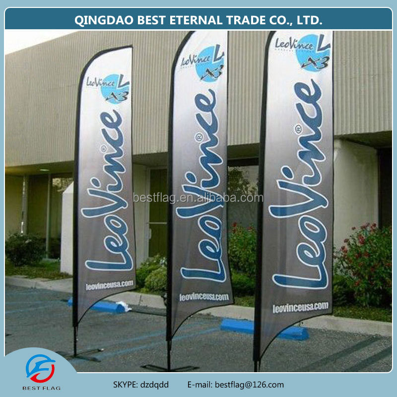 2015 hot outdoor feather flag with pole and base beach flag