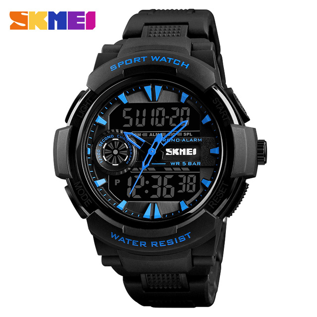 New Arrival Men Fashion Analog EL Light Double Time Digital Chrono Waterproof Sports Wrist Watch
