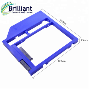 "Blue Plastic SATA 3.0 2nd HDD Caddy 9.5mm for 9 / 9.5 mm 2.5"" SSD Case HDD Enclosure for Laptop CD DVD-ROM Optical Bay"