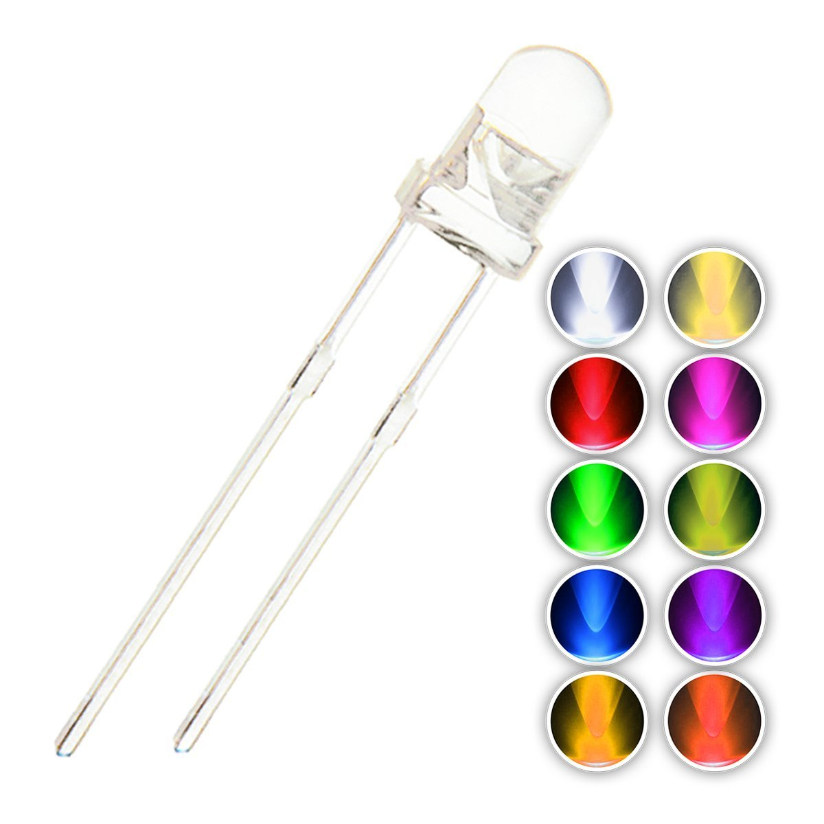 Back To Search Resultselectronic Components & Supplies Diodes 100pcs Transparent Cover Led 5mm 3mm Red Yellow Green Blue Warm White Purple Light Emitting Diode High Bright F3 F5 Quality Bead