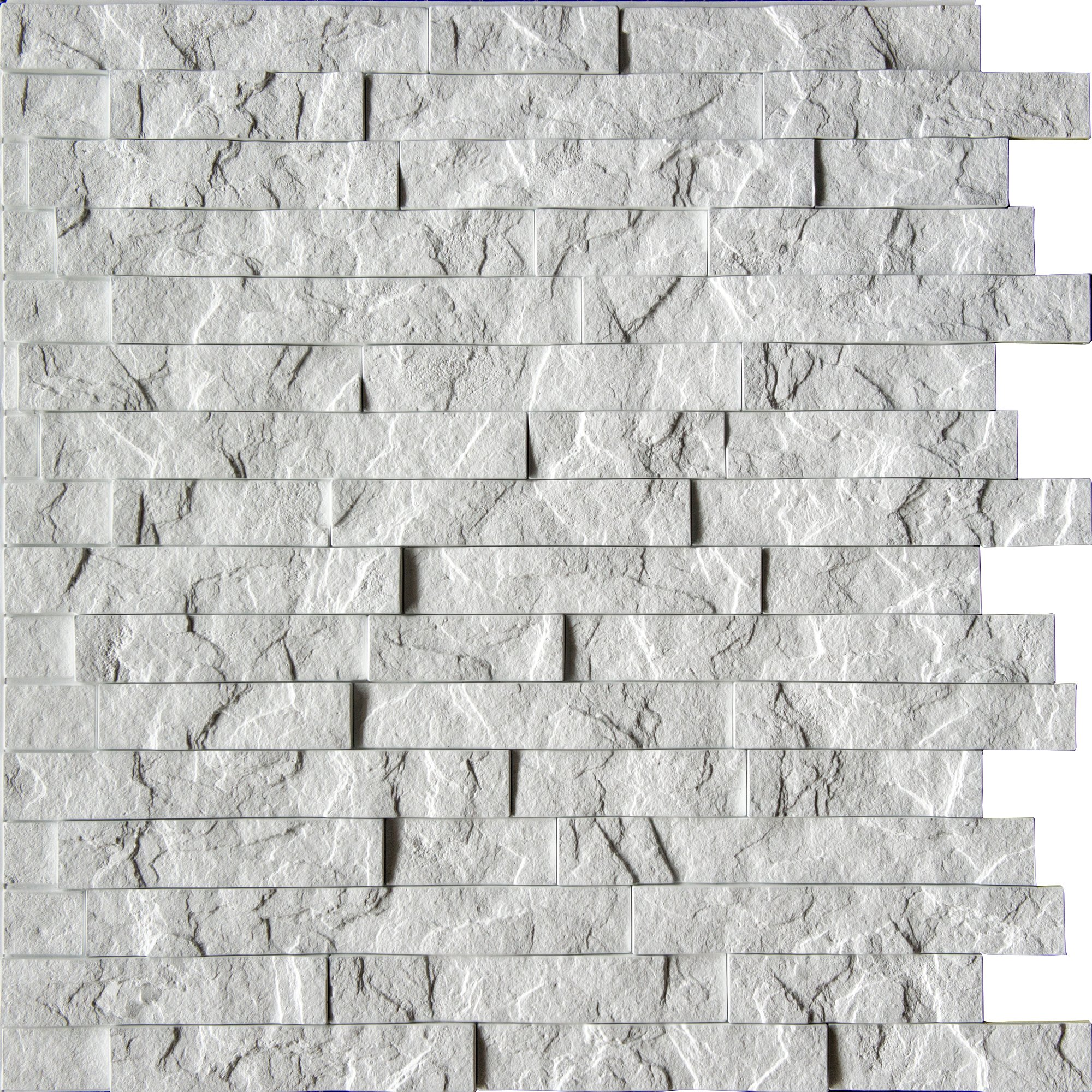 "Ledge Stone 3D Wall Panels - Lightweight thermoplastic Decorative 3D Wall Tiles for Easy Glue Up Installation. Crystal White Color. Pack of 4 Tiles (Each Tile 24""x24"" Covers ~4 sq. ft)"