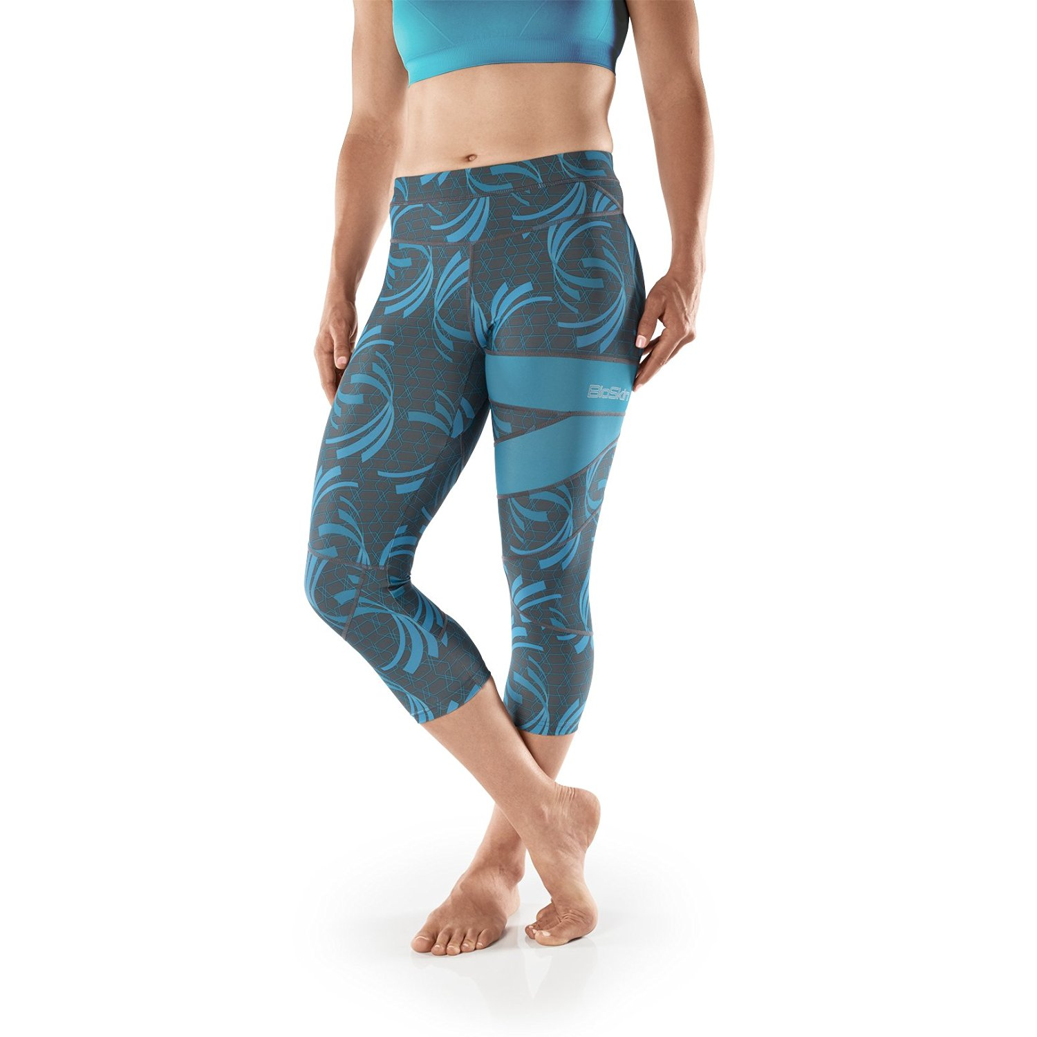 b677213c5027d Get Quotations · BioSkin Perfect Fit Running Compression Capris, 3/4  Leggings With Phone Pocket- Blue