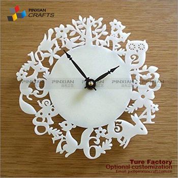 Kustom laser diukir dinding jumlah putih acrylic ukir jam dekorasi clear  acrylic jam dinding f4c3976e3f