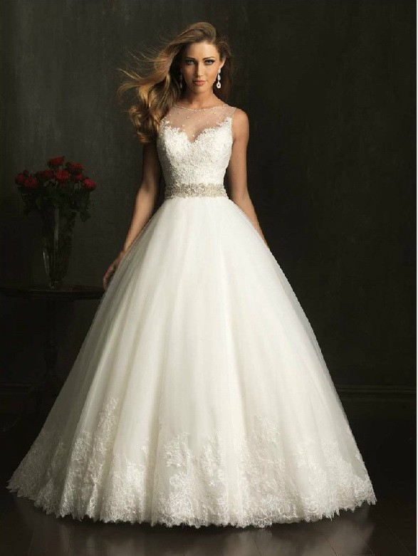 New Fashion Modest Elegant Bridal A-line Appliqued Soft Tulle Custom Made Wedding Dress With Crystal Vestido De Noiva Q032015