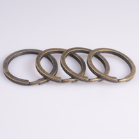 Antique Bronze Color Metal Silver Simple Split Key Ring Keyring Connectors Fit Diy Jewelry Making Keychain Diameter about 27.5mm