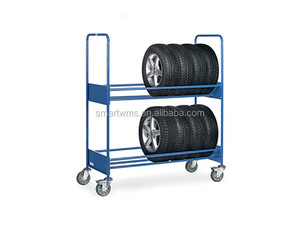 Warehouse Stacking Portable Mobile Metal Tire Display Rack with Powder Coating Spray
