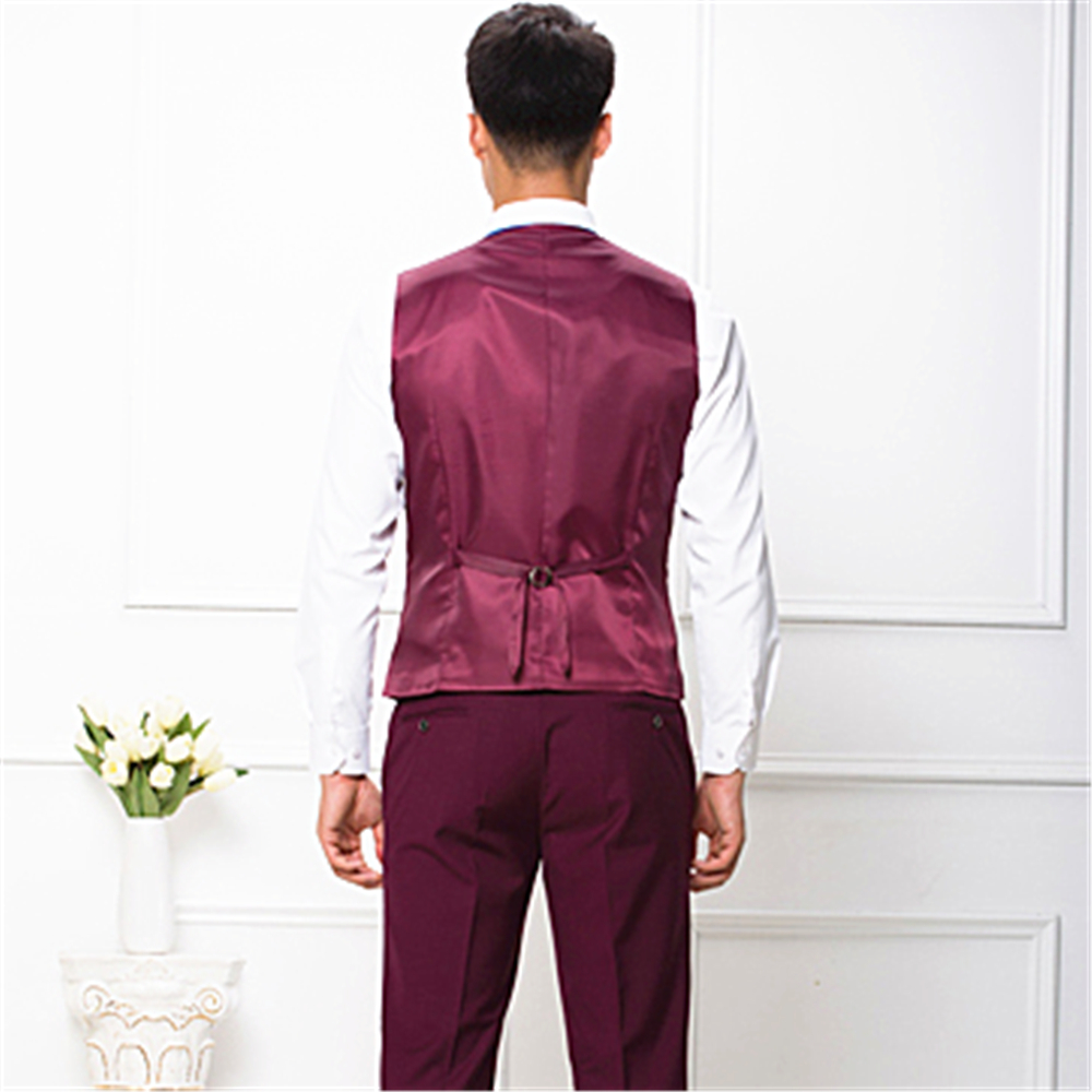 Men's new style 90% wool No Lapel grey three buttons business Vest