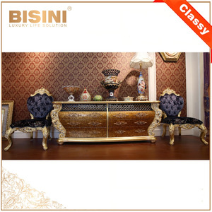 Italy Design Baroque Style Living Room Leisure Armchair With Cupboard Cabinet/ Classic Royal Golden Wood Carved Side Chair