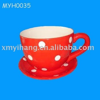 Ceramic Cup And Saucer Planter Buy Tea Cup Planter Red Indoor Pot