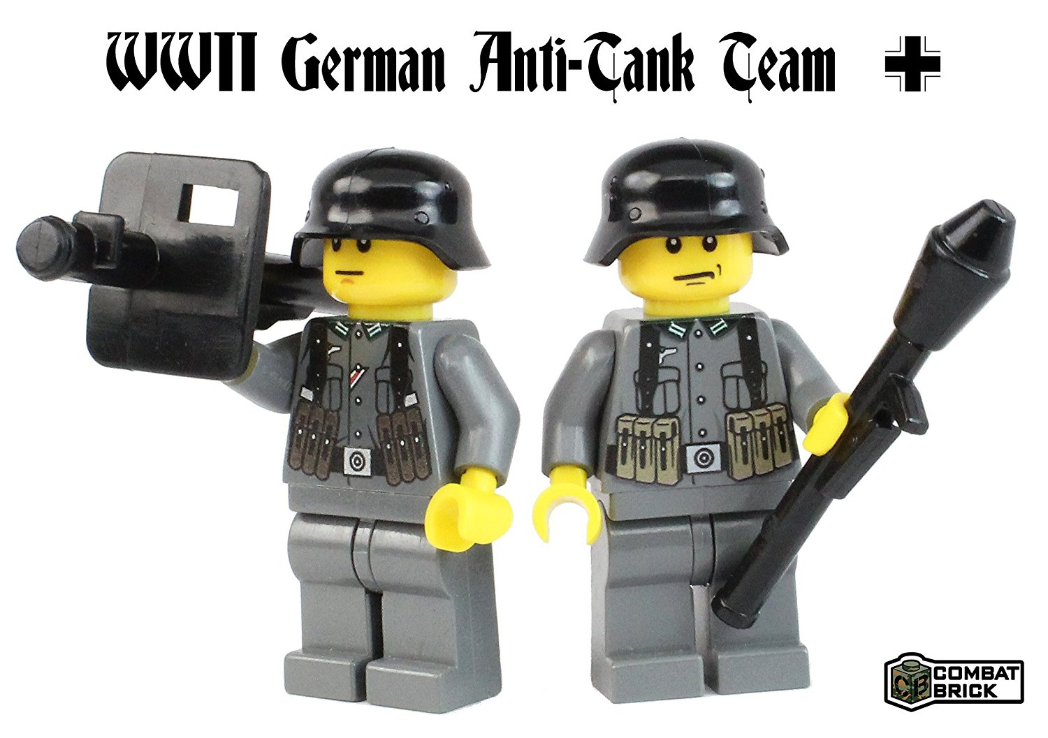 Premium WWII German Army Anti Tank 2 men team : Pack of WW2 Action Figures and weapons - Custom Military Brick Builder Minifigures by CombatBrick