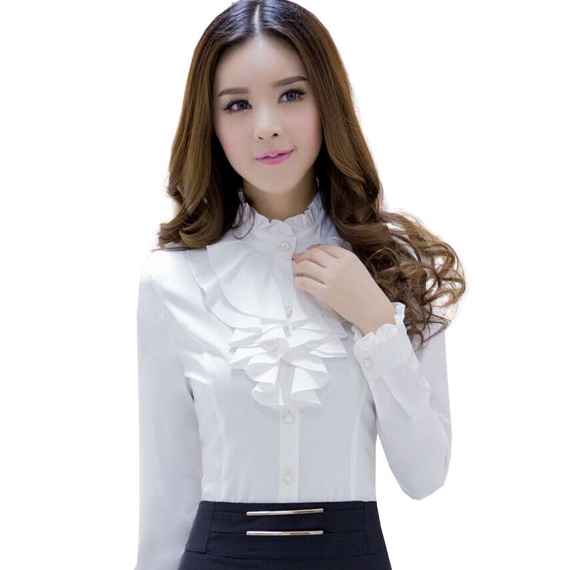 29adfb40640 Get Quotations · 2015 spring and autumnl white long-sleeve Blouse slim  stand collar ruffle top work wear