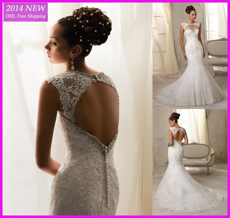 Cheap White Ivory Wedding Dresses Mermaid Lace Appliques: TS 19 Top Quality New Custom Made White/Ivory Beading