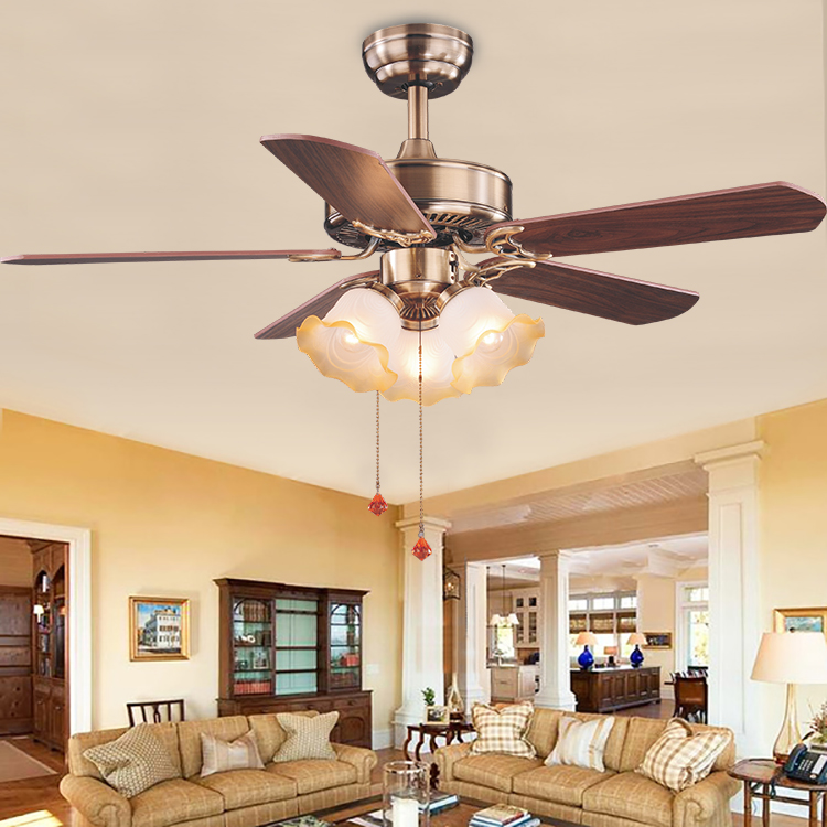Fashion Design Household Speed Control Wooden Blade Ceiling Fan With Lights