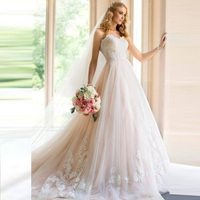 Wholesale pleating tulle lace applique backless sweetheart plus size ball cheap wedding dress