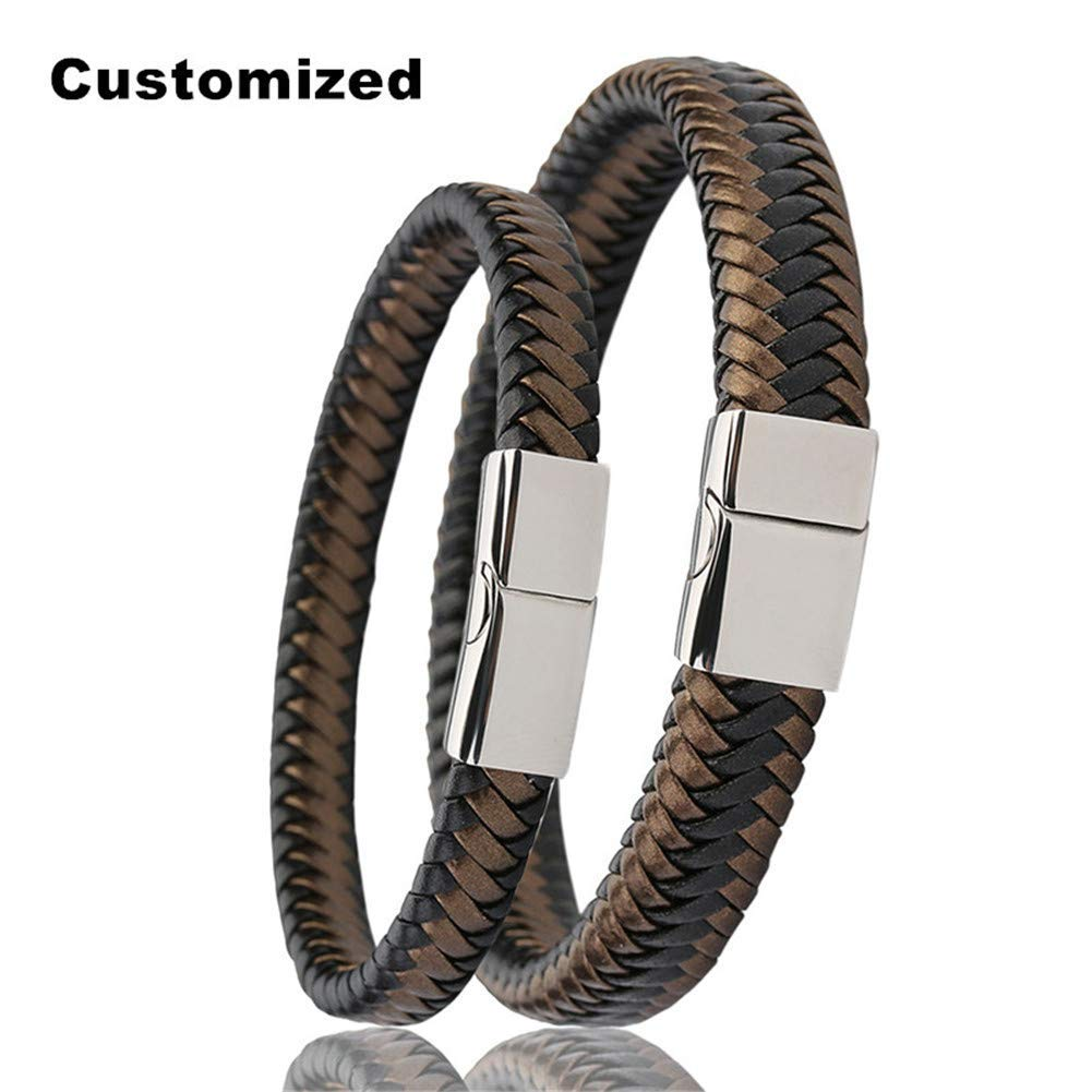 LiFashion LF His Her Stainless Steel Personalized Name Custom Braided Genuine Leather Cuff Bracelets Black Brown Handmade Real Leather Bangle Men Women Promise Valentine Gift,Engraving Customized