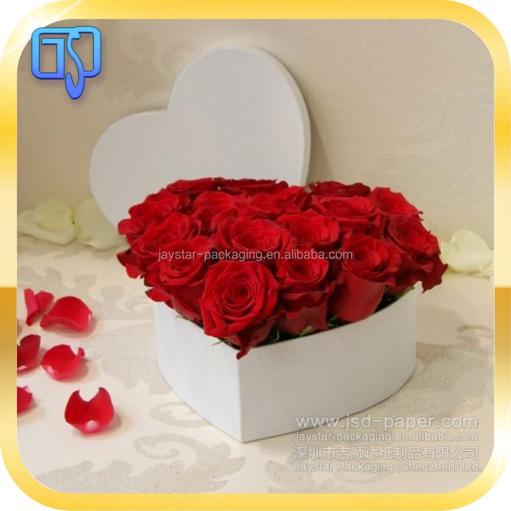 forme de coeur de luxe boîte À fleurs en papier avec ruban unique d