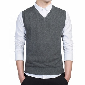 Wholesale Business Cheap Plain Nice V Neck Vest Sleeveless Sweaters For Men