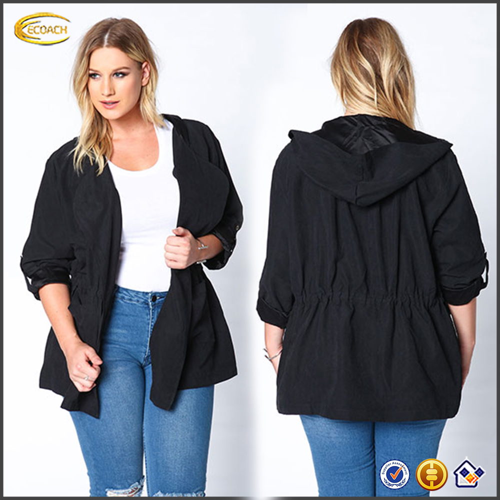 2016 Custom Design women black outerwear with Pockets on the sides and Button tabbed sleeves suede drawstring anorak jacket