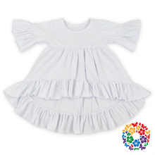 Fashion White Color Baby Girls Cotton Dress Childrens Casual Fall Ruffle Dress Fancy Girls Party Dresses