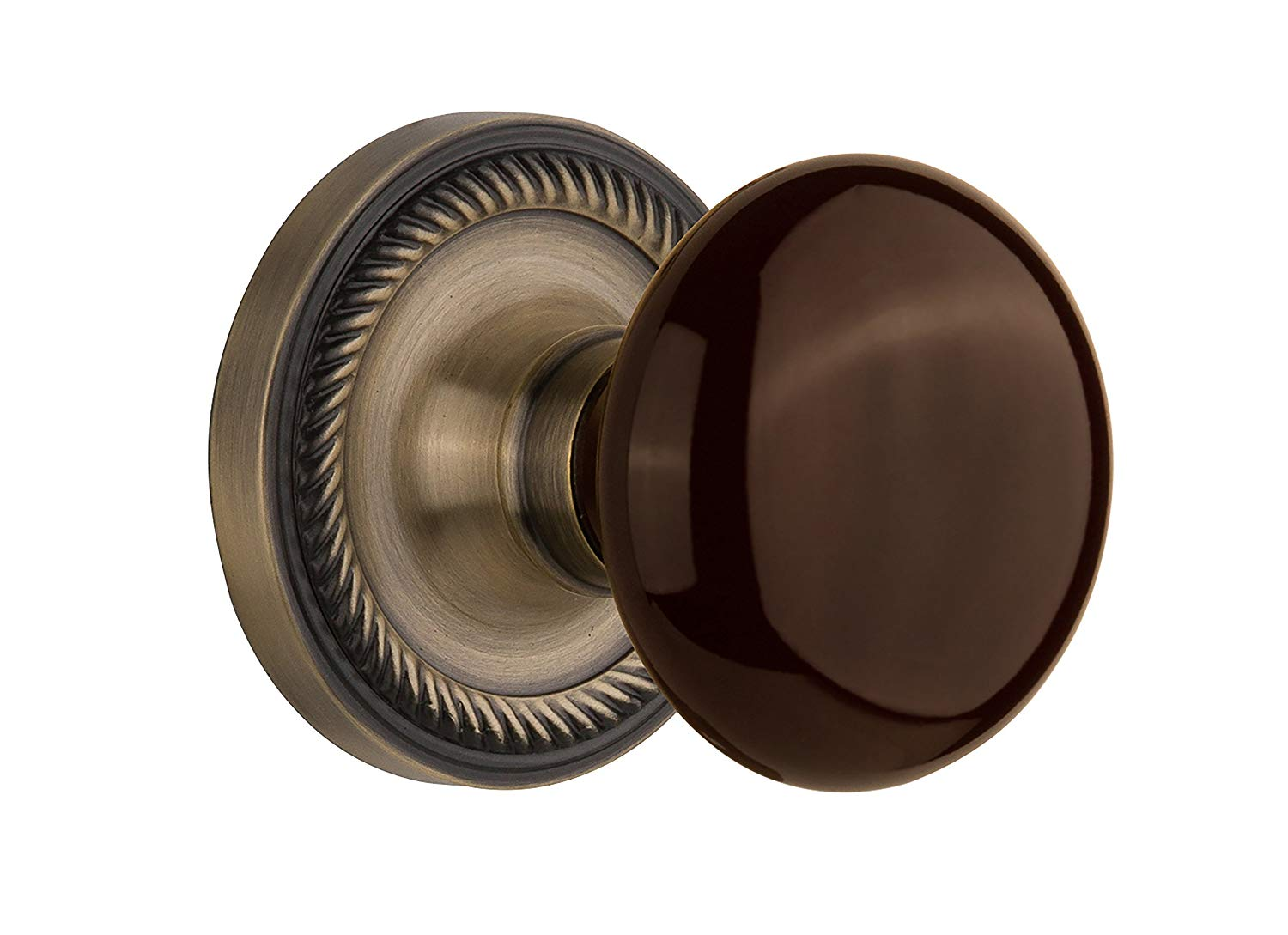 """Nostalgic Warehouse Rope Rosette with Brown Porcelain Knob, Passage - 2.375"""", Antique Brass"""