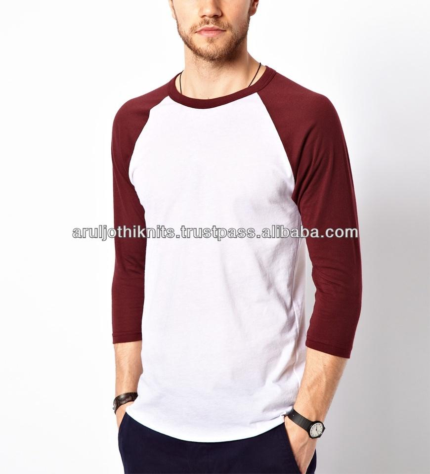 fbc04b311d algodón poliéster de punto para hombre liso de manga codo t camisa