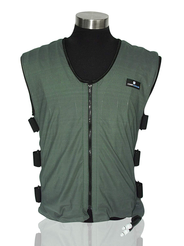 Liquid Cooling Vest, Dark Green Outer Mesh Fabric, Black Mesh Liner, Reversible Application