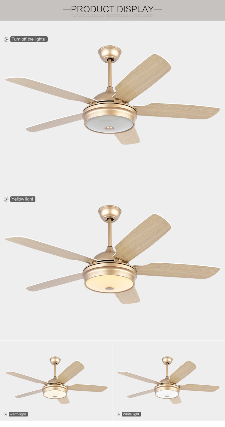 Low noise Home decoration champagne gold Remote control 52 inch wood blades ceiling Fan light