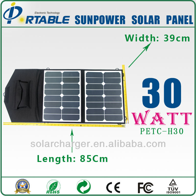 With Dual outputcontroller Mini Sunpower tax exemption 30W Solar Folding Panel high efficient