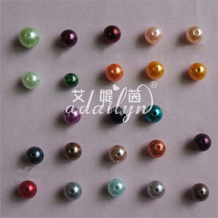 100pcs/bag 8mm,10mm,12mm,14mm ABS plastic straight hole round imitation pearl artificial loose pearls