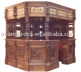 Clical Carving Wooden Bar Furniture Set Table Cabinet