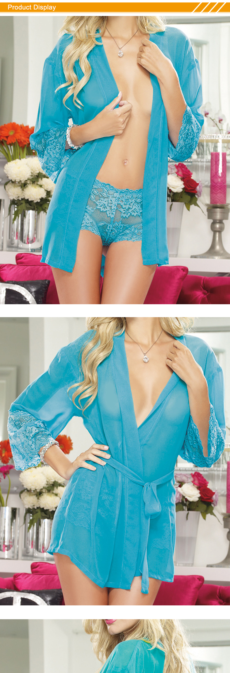 HSZ 3105 European and American sexy pajamas ladies nightgown suit sexy bathrobe