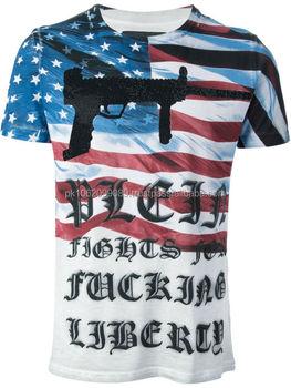 Custom usa flag full sublimated printed t shirt high for High quality printed t shirts