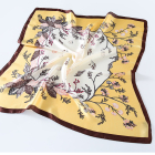 New design custom polyester flower printed yellow bandana scarf chiffon silk plain dyed scarf